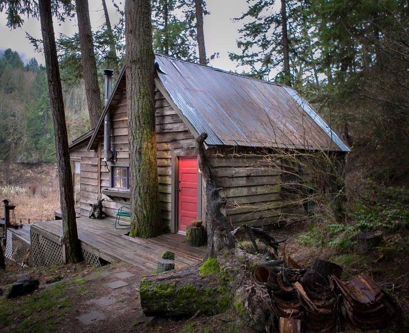 Mini wood cabin with red doors