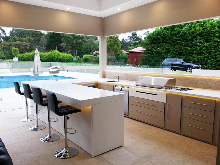 View in gallery. A white outdoor kitchen ...