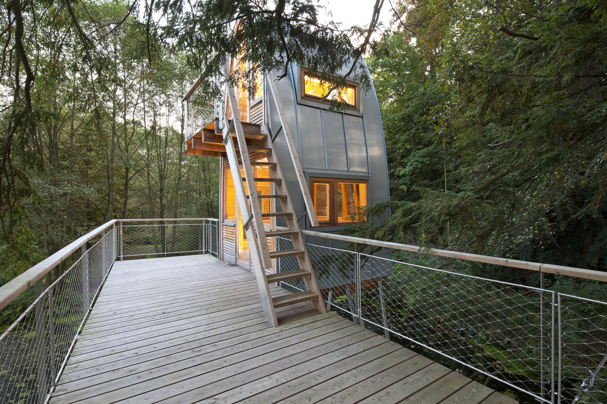 Modern tin treehouse with an illuminated interior