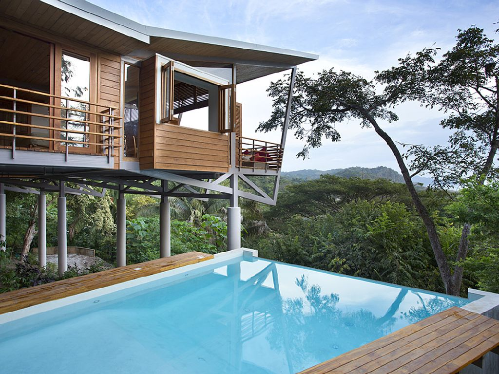 Modern treehouse with a contemporary design and a big pool