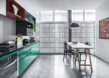 Multi colored open cabinets for the kitchen 217x155 Revamped Modern Industrial Apartment in the Iconic Edifício Copan