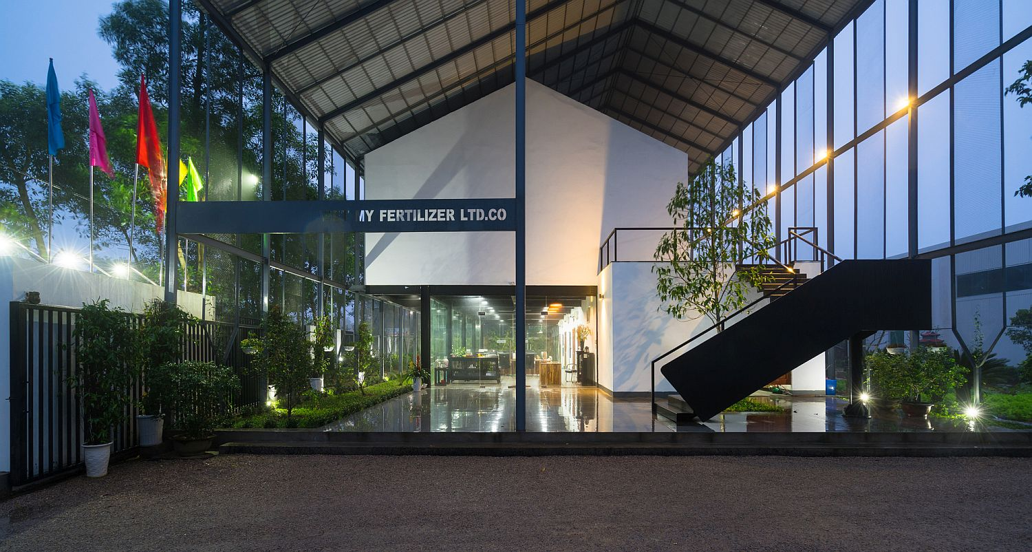Nature and man-made elements interact elegantly at Vietnam office