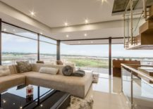 Open living area in neutral hues 217x155 House Vista: Johannesburg Home Overlooking Lake and Golf Course