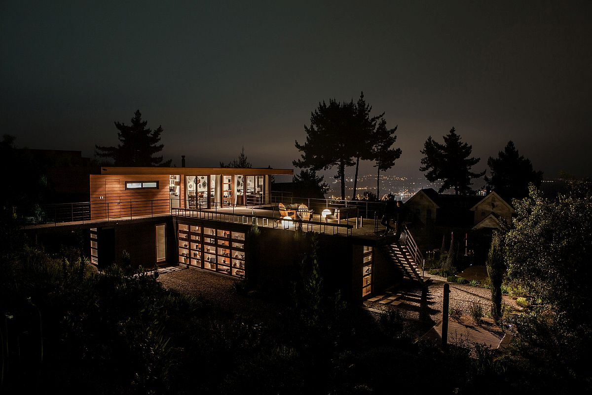 Open top level deck with distant city and ocean views