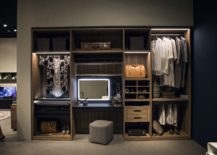Open wooden shelves create a fabulous and simple wardrobe 217x155 An Organized Wardrobe: 15 Space Savvy and Stylish Closet Ideas