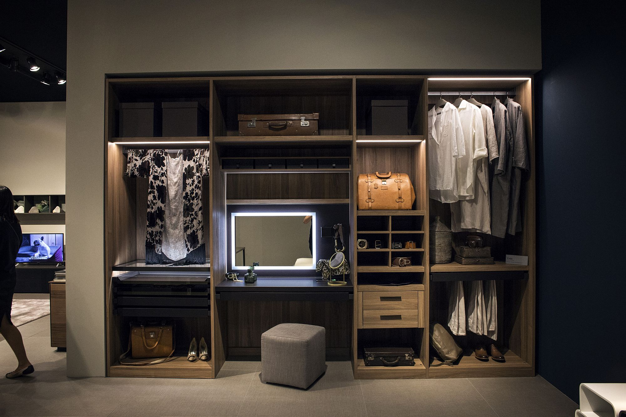 Open wooden shelves create a fabulous and simple wardrobe
