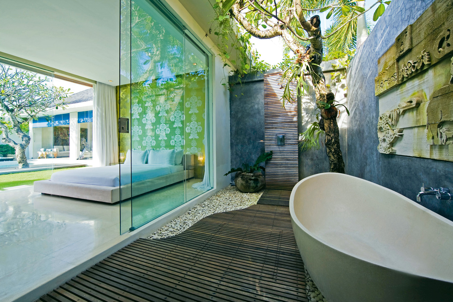 Organic outdoor shower with beautiful wooden flooring