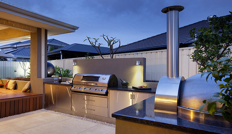 Outdoor kitchen with a sophisticated ambiance