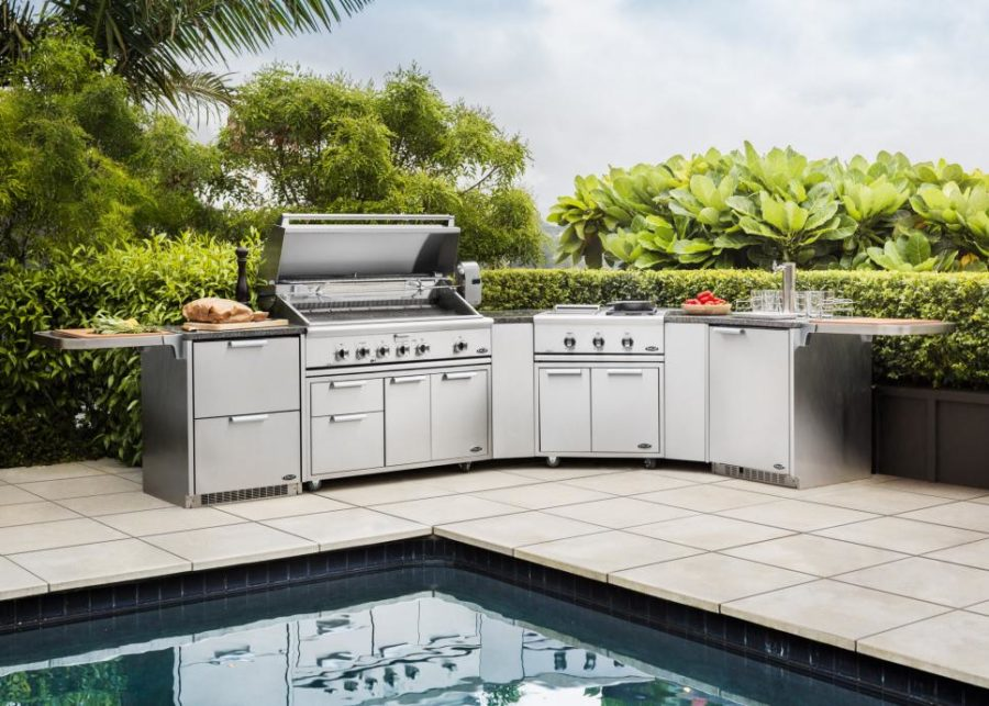 Outdoor kitchen with an industrial style