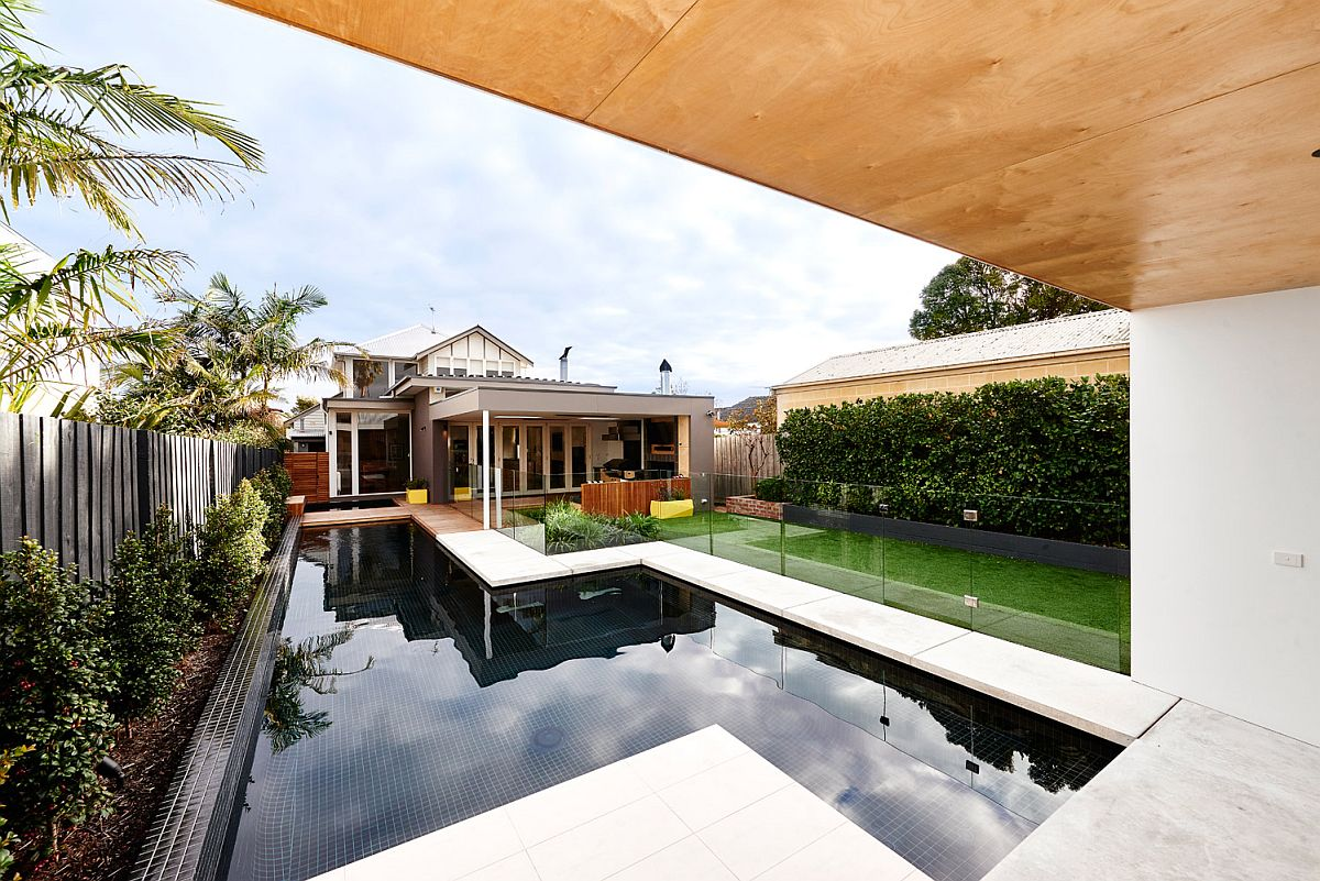 Pool area and deck of the revamped Aussie home
