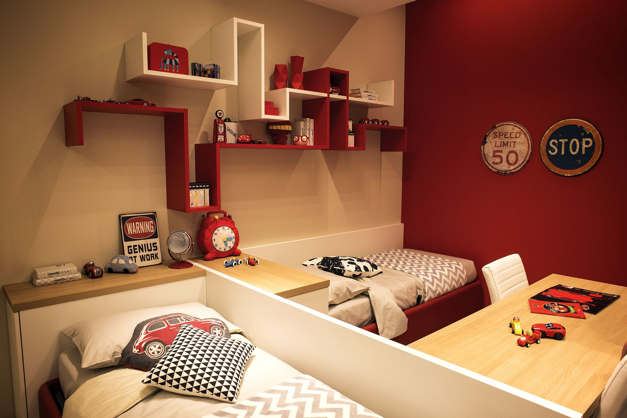 Red in the kids bedroom is an instant showstopper