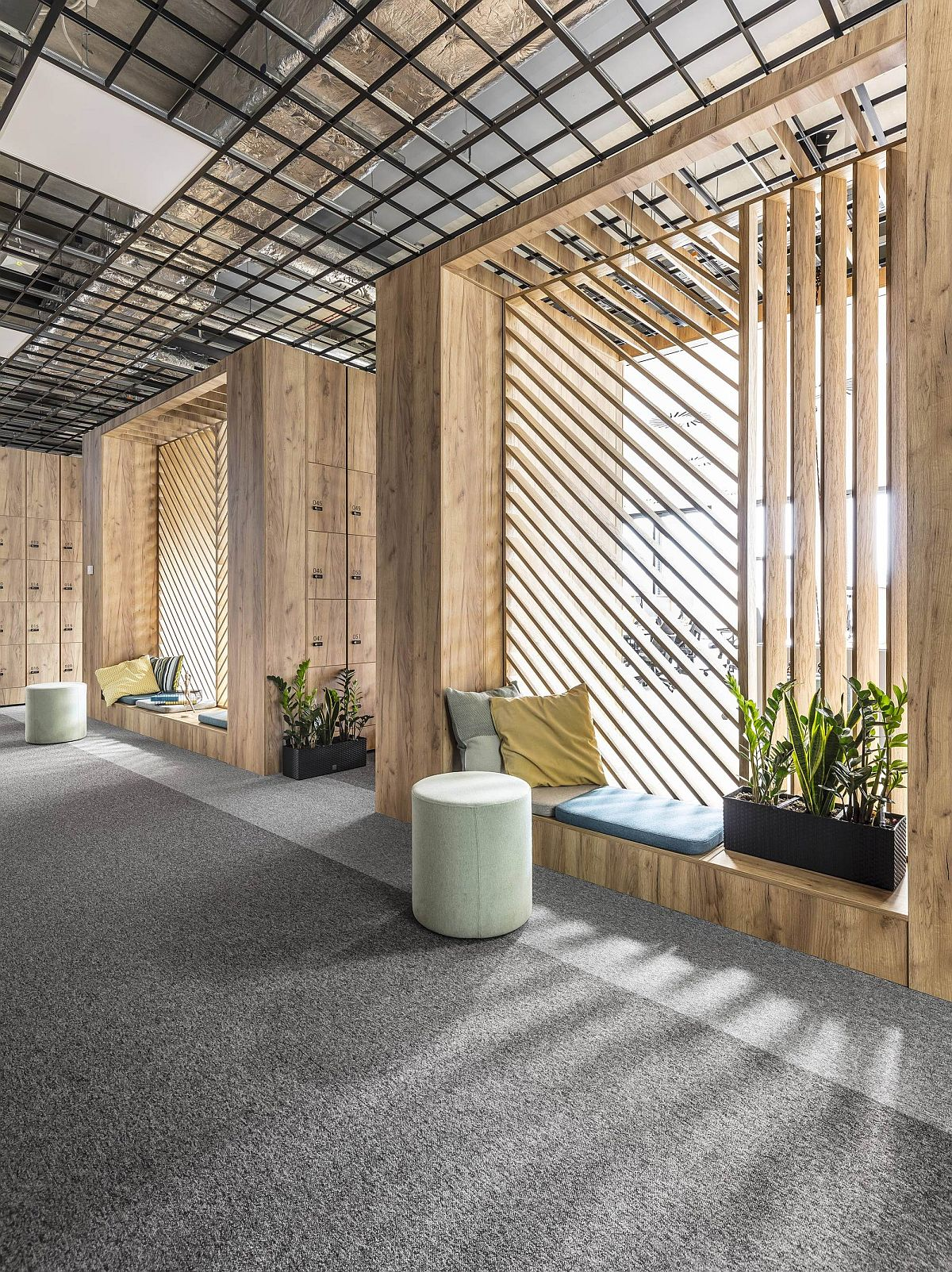 Relaxation nooks inside the office with ample lighting