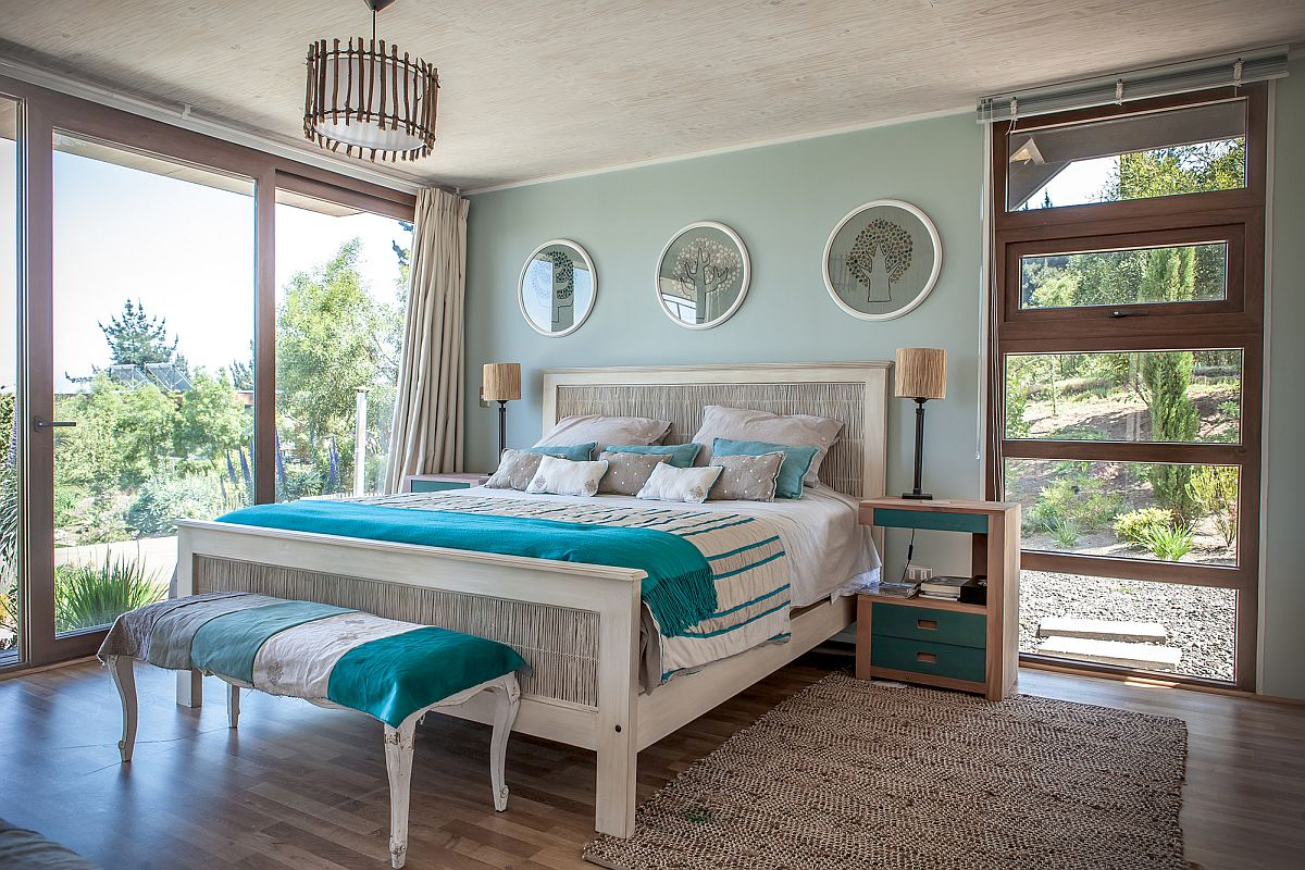 Relaxing bedroom draped in shades of blue