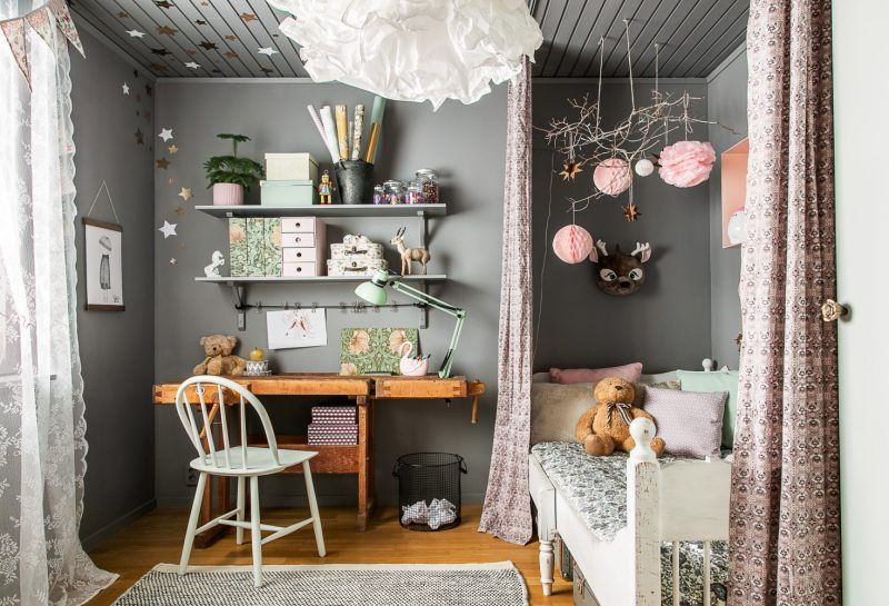 Rustic-wooden-furniture-in-a-gray-and-pink-bedroom