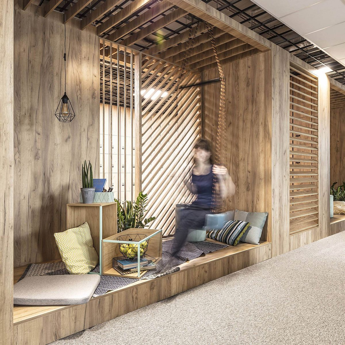 Serious work and relaxation come together inside trendy office
