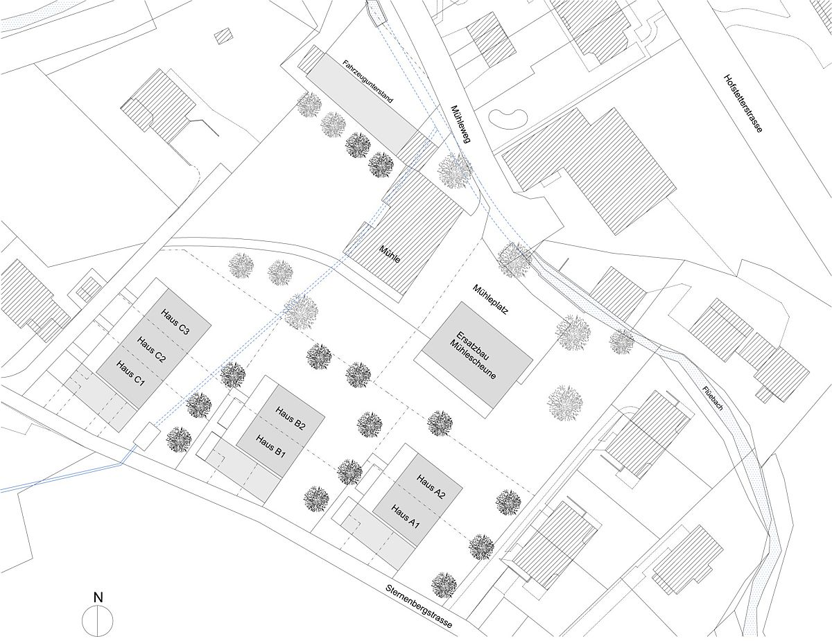 Site plan of the converted barn apartments in Switzerland