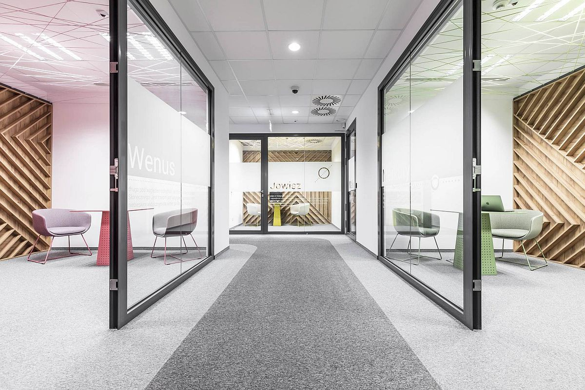 Sliding glass doors help create a more dynamic office interior