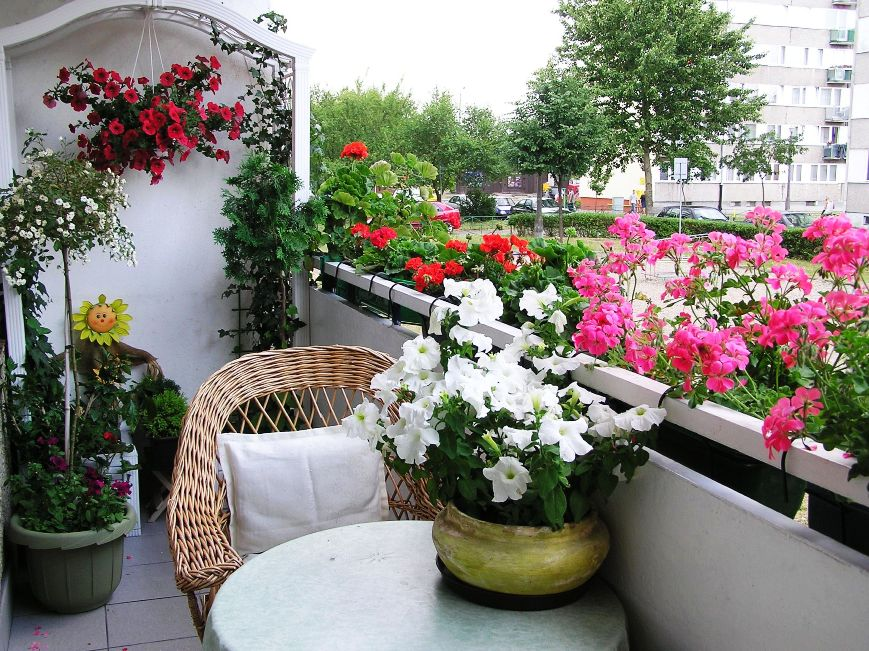 Small balcony with florals in a wide palette of colors