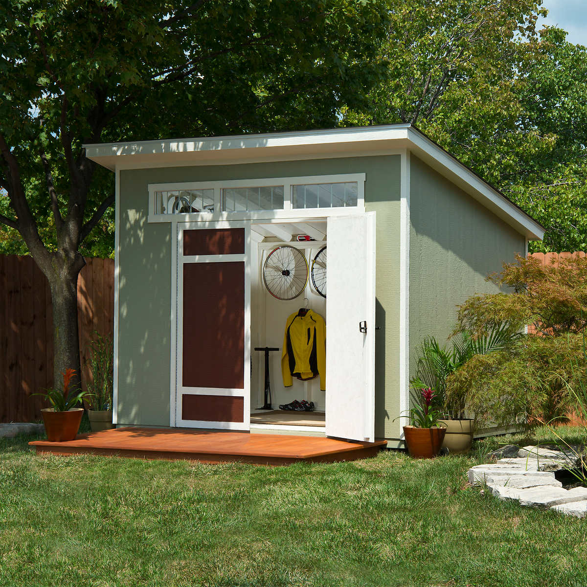 when you choose the colors you can already find in your natural garden for the sheds exterior you instantly assure that it will totally fit into the yard