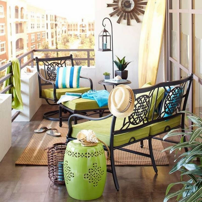 Small, green urban balcony