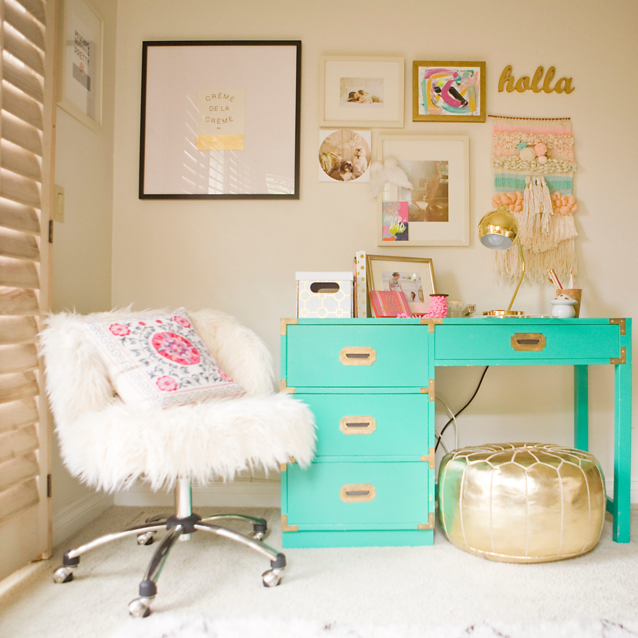 Small home office with many golden details