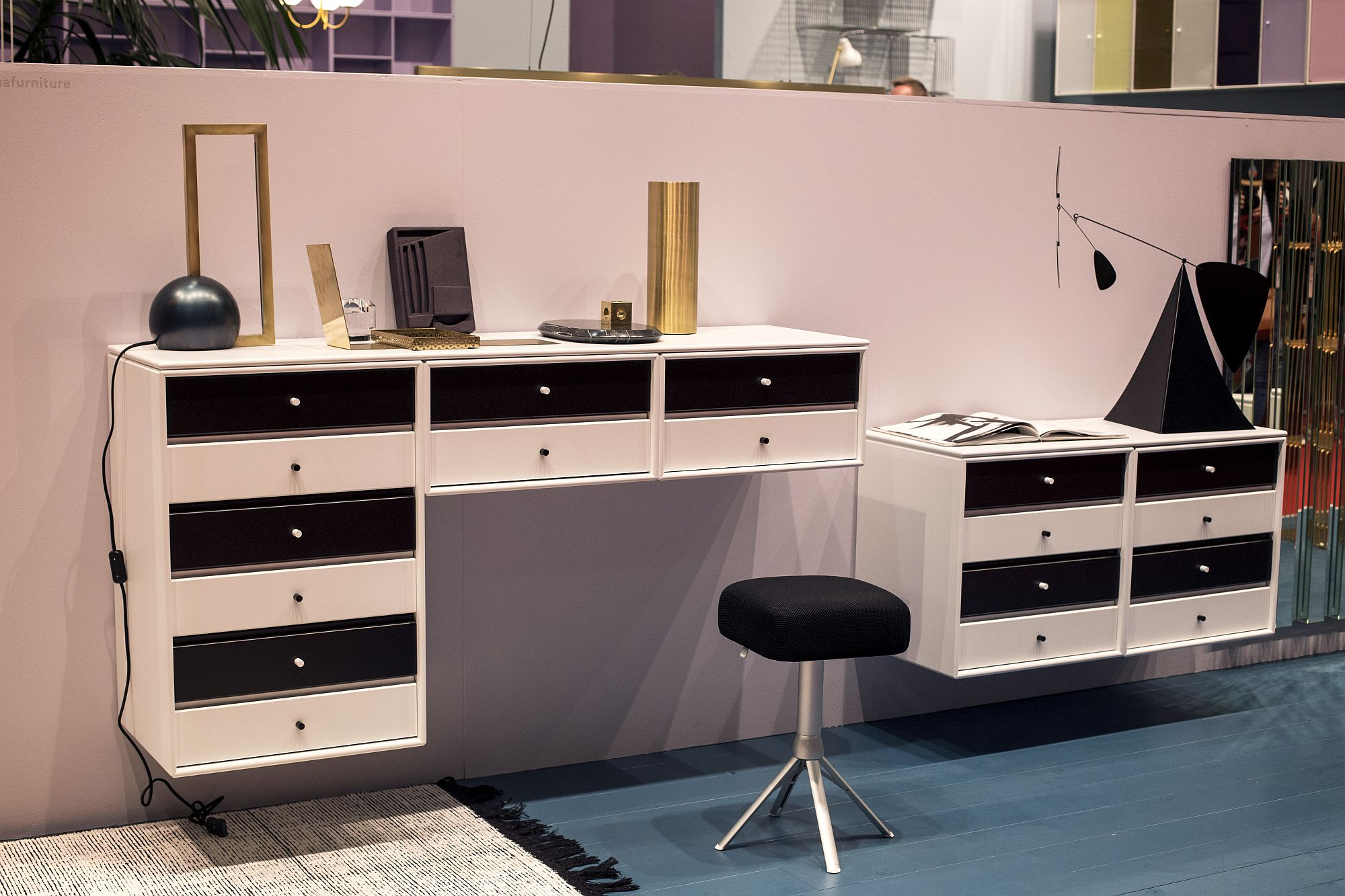 Smart, modular shelving that is wall-mounted also offers a cool work surface when needed