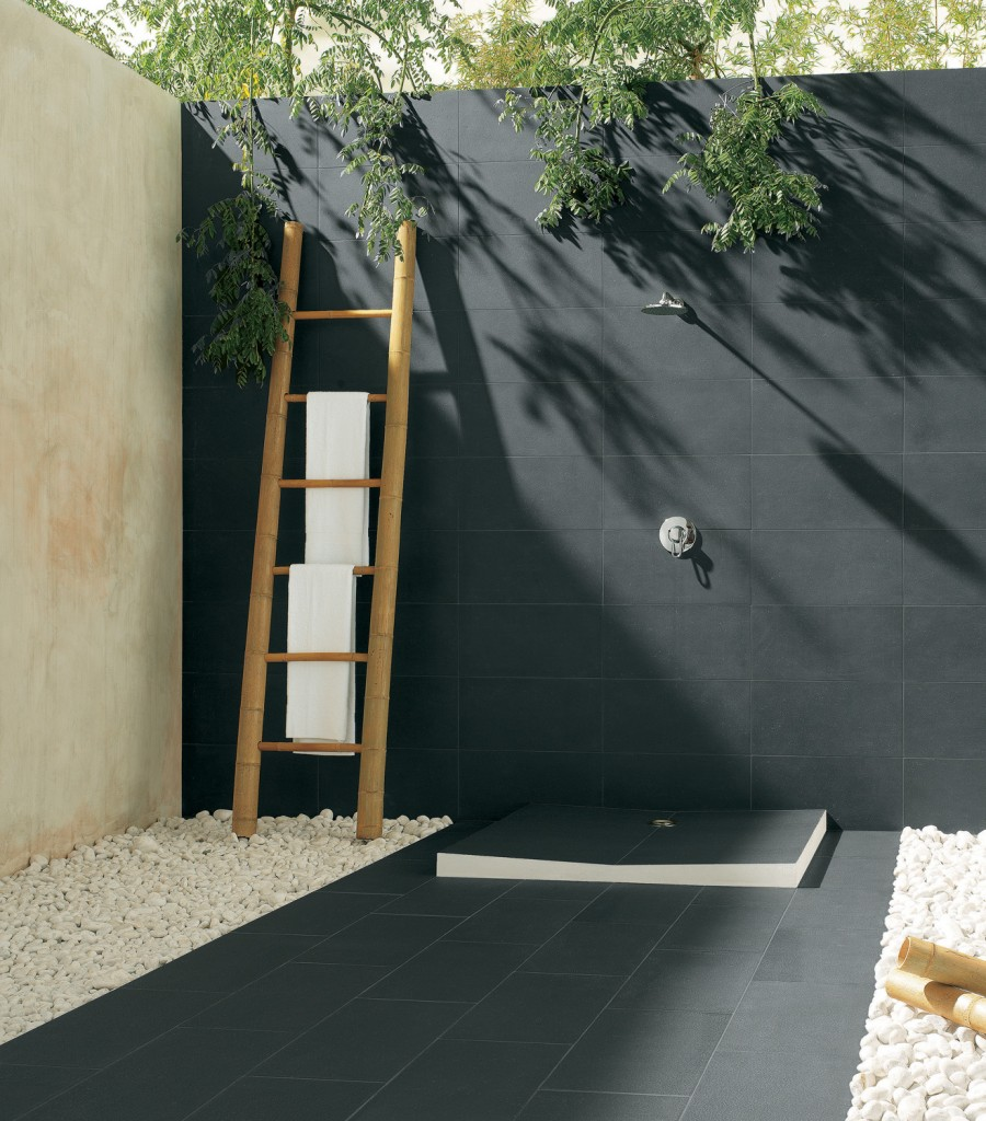 Sophisticated outdoor shower with a contemporary monochrome color palette