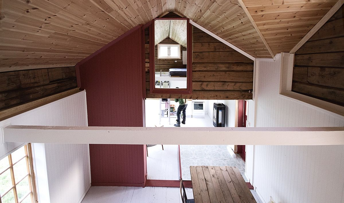 Spacious cabin interior with pops of red
