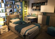 Standalone unit with open shelves also acts as a room divider 217x155 15 Ways to Maximize Corner Space in Kids' Bedrooms