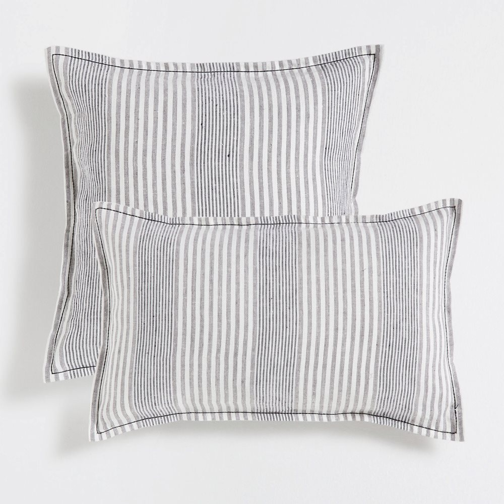 Striped linen cushion covers in black and white
