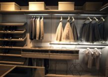 Stunning lighting adds to the brilliance of the walk in closet 217x155 An Organized Wardrobe: 15 Space Savvy and Stylish Closet Ideas