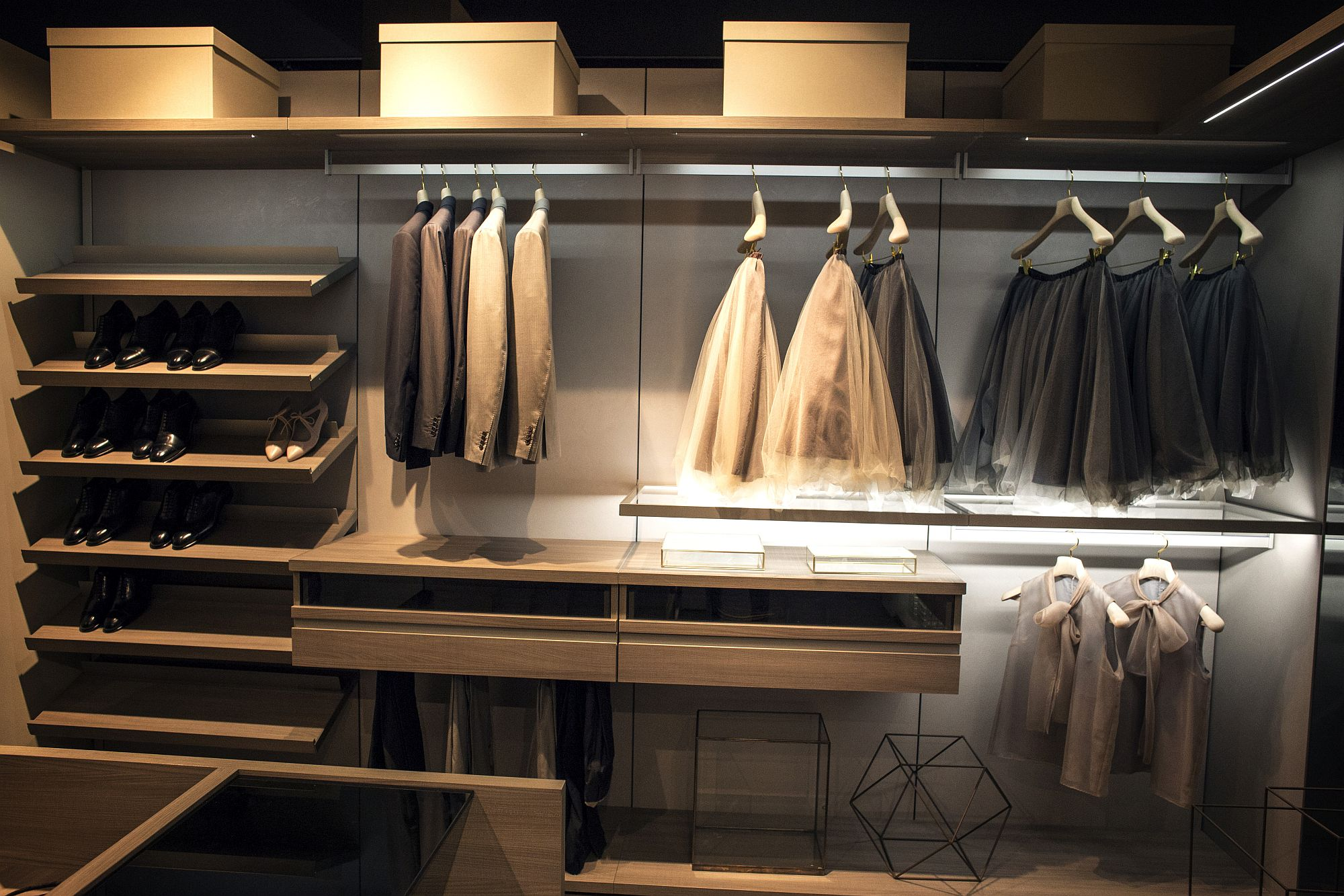 Stunning lighting adds to the brilliance of the walk-in closet