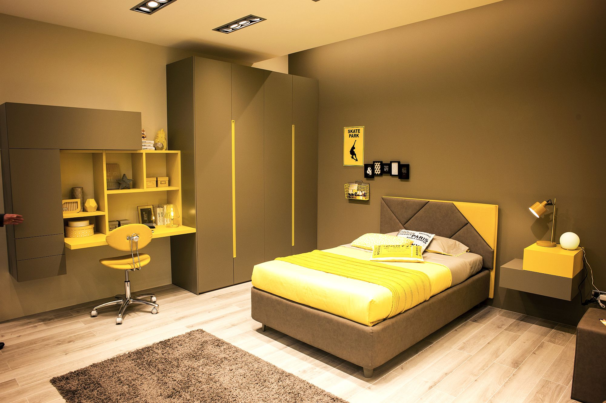 Stylish kids room in yellow and brown