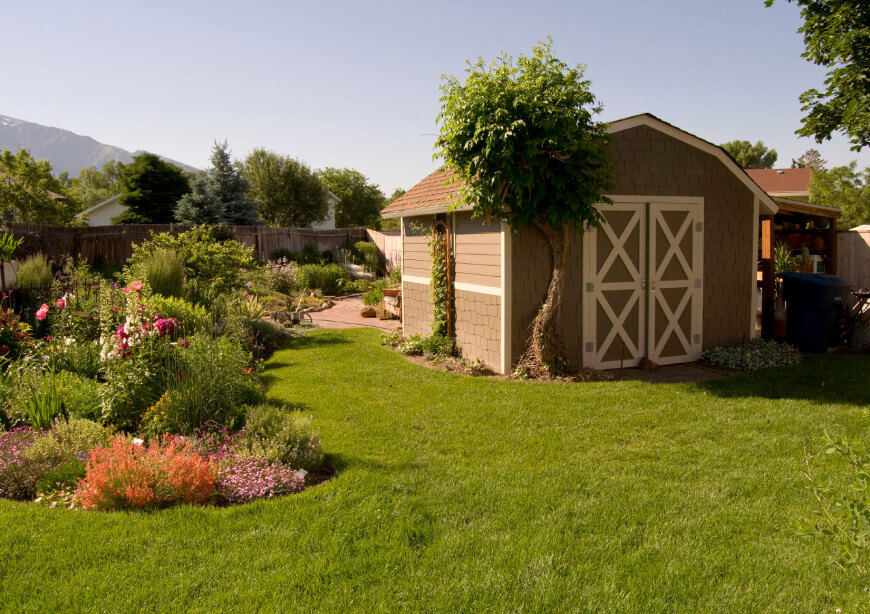 The classic garden shed with a light brown exterior