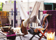 Tiny purple balcony with youthful personality  217x155 Small and Stylish: Tiny Balconies That Utilize the Power of Color