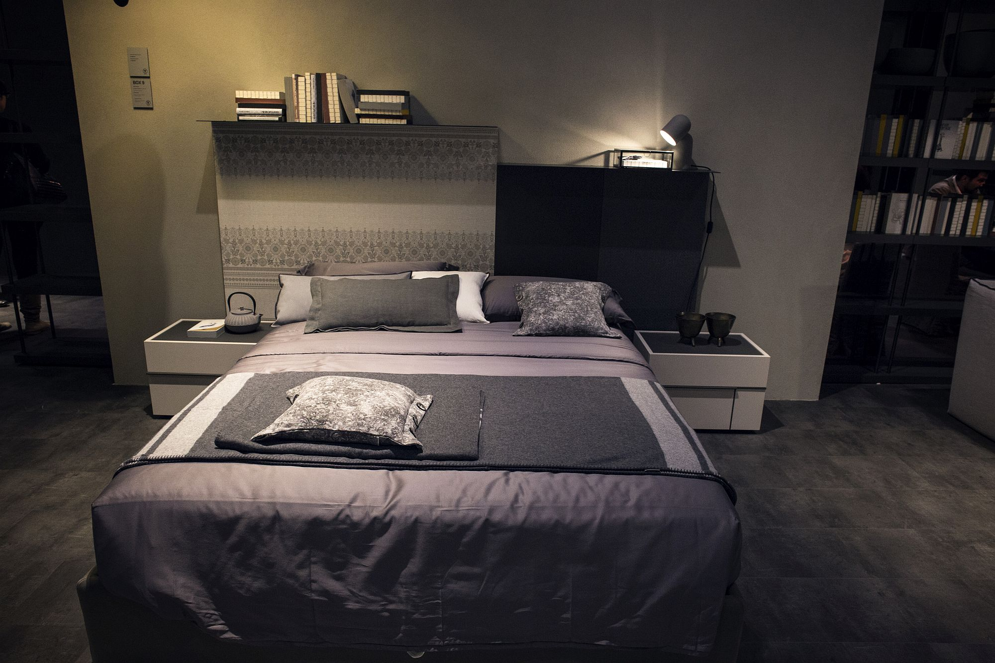 Tiny table lamp in gray provides ample illumination