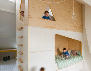 Bespoke Brilliance: Twin Bed Wall in Kids' Room with Loft Play Zone