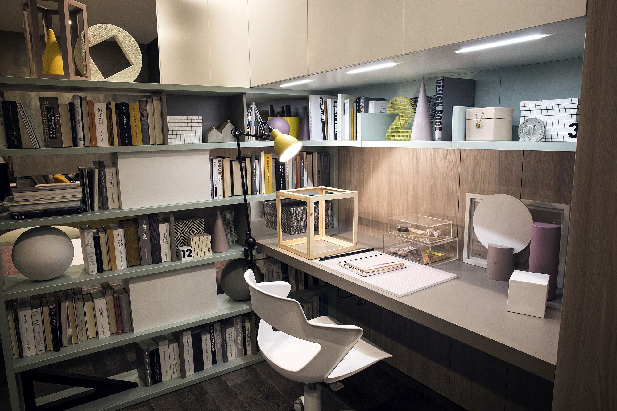 Under-cabinet LED lighting adds to the appeal of the bookshelf