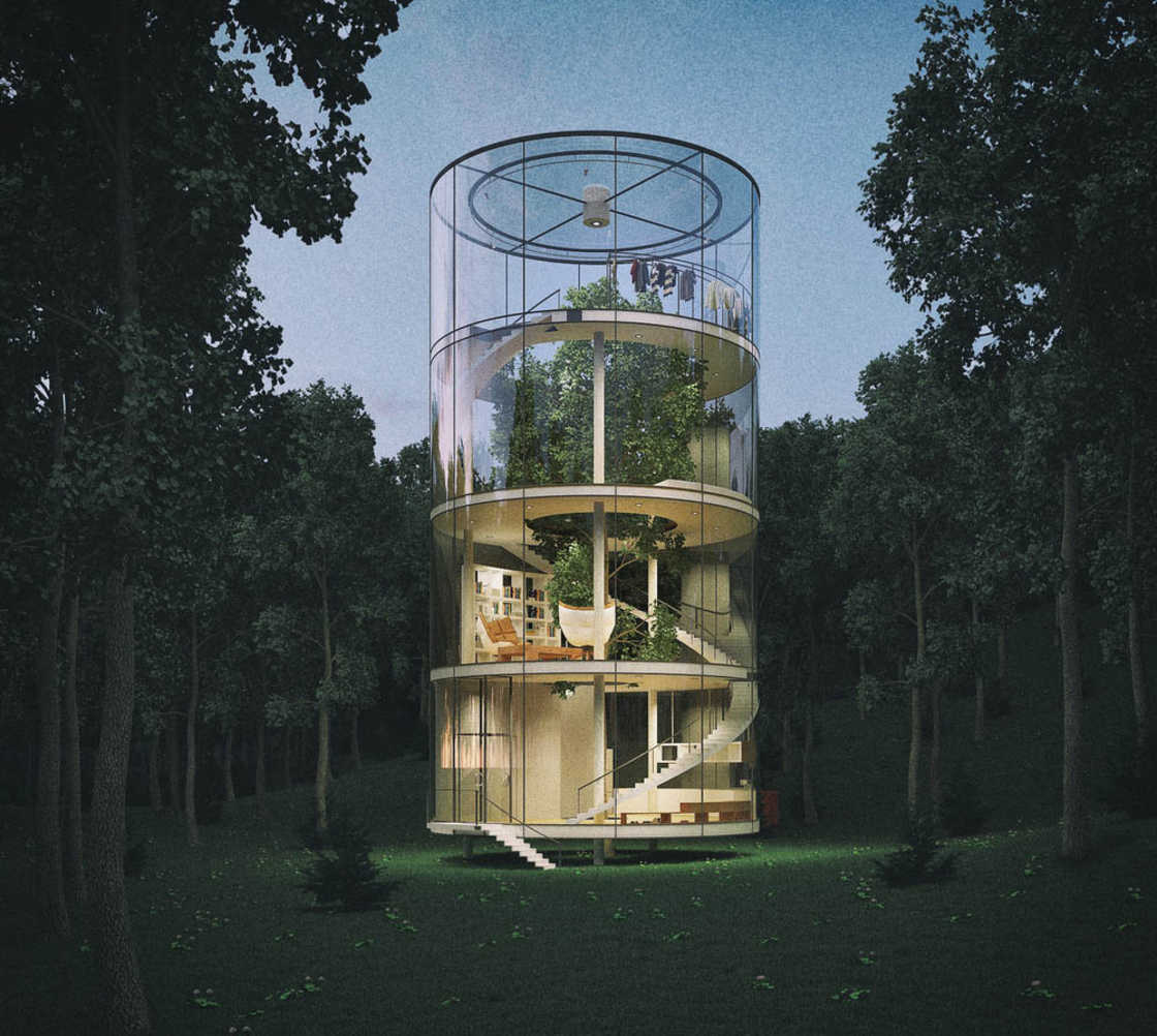Unique treehouse with a vertical design