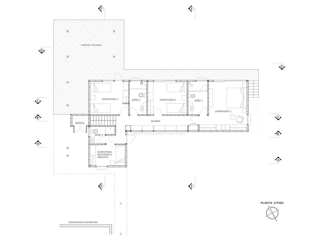 Upper level floor plan with bedrooms and deck