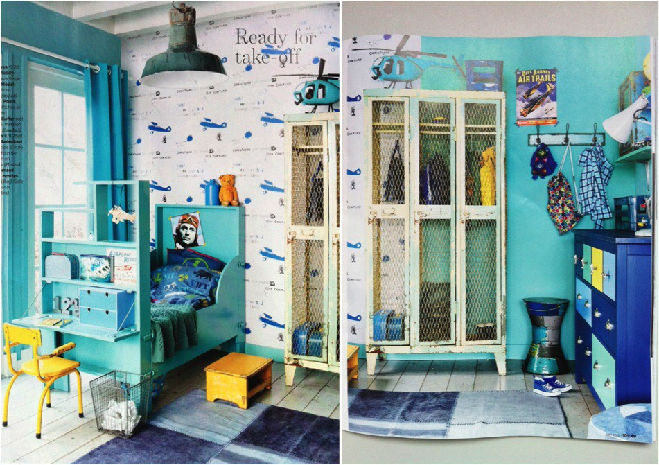 Vibrant-blue-vintage-room-with-a-shabby-gym-locker-
