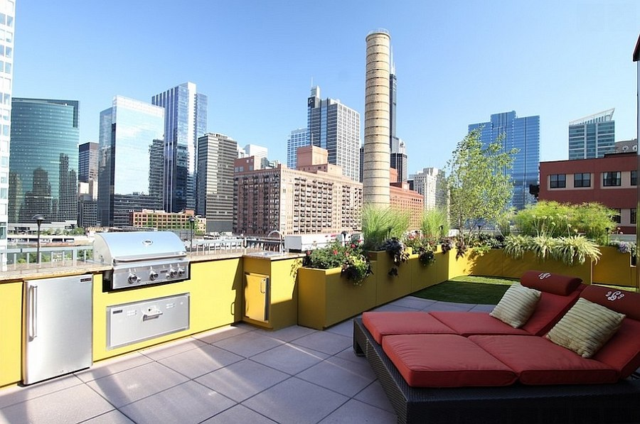 Vibrantly colored outdoor rooftop kitchen
