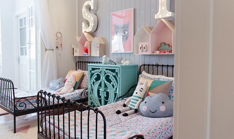 Vintage kids bedroom with a beautiful vintage cupboard