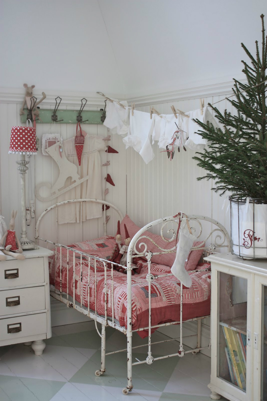 Vintage kids room with a mint and white interior