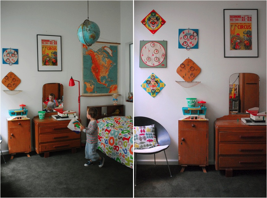 Vintage kids room with a selection of rustic pieces