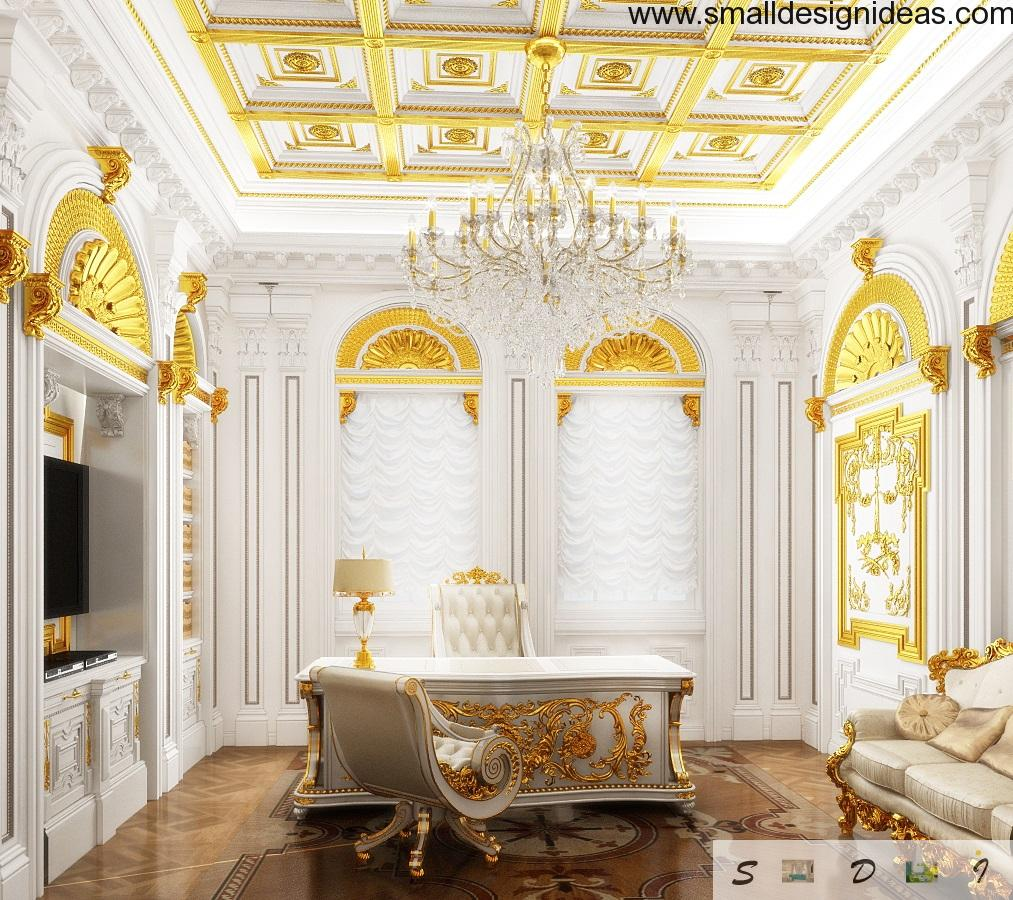 White and gold office that radiates beauty and prestige