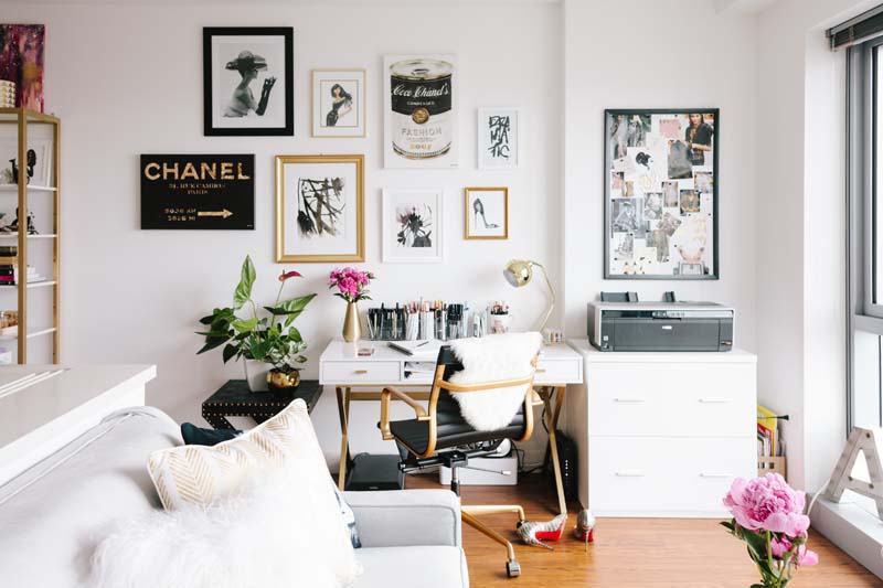 White gold and black office with a classy interior