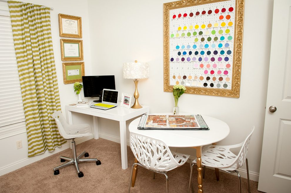 White home office with stunning framed gold wall art