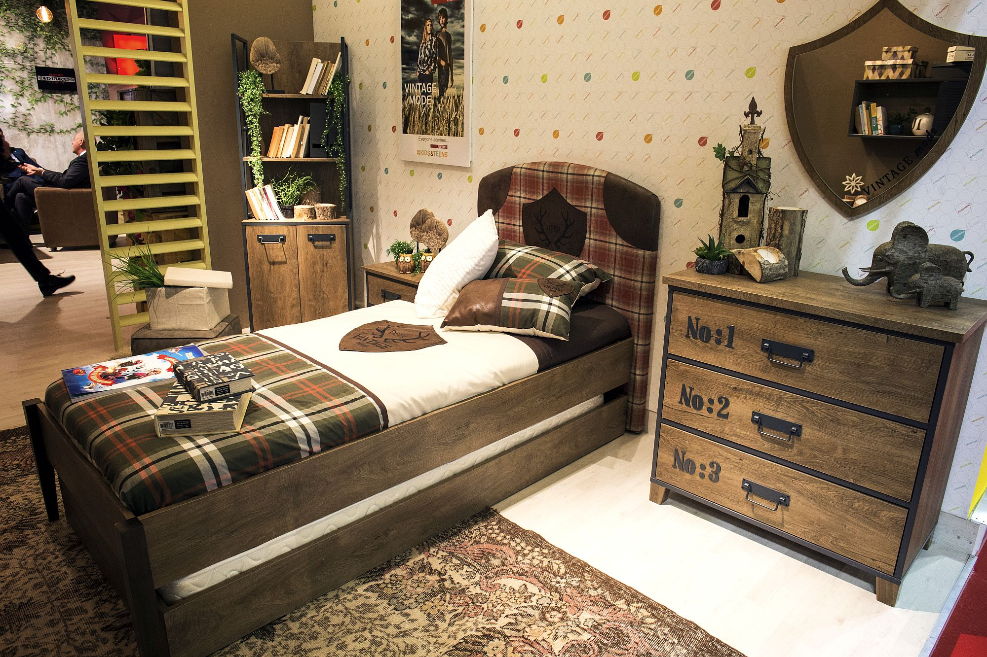 Wood along with classic English patterns give the kids' room a timeless look