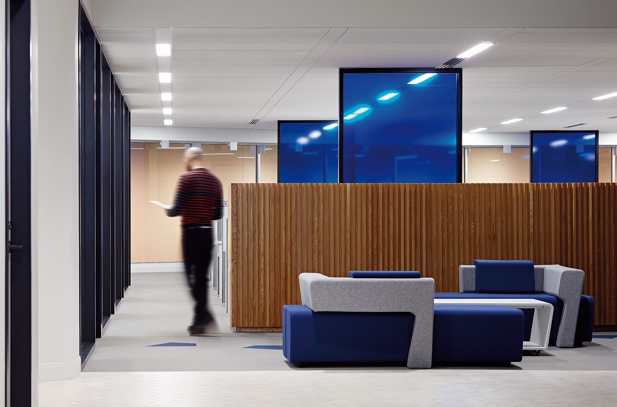 Wood brings warmth to an otherwise slick contemporary office